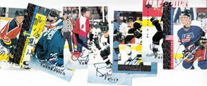 Lot of 9 different 1995-96 Be A Player hockey certified autograph cards (Yanic Perreault Jozef Stumpel Robert Svehla)