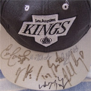 1995-96 Los Angeles Kings autographed cap or hat (Wayne Gretzky Tony Granato Robert Lang)