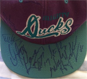 1995-96 Anaheim Mighty Ducks autographed cap or hat Todd Ewen Steve Rucchin Joe Sacco Garry Valk