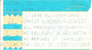 1995 MLB All-Star Game Home Run Derby and Workout Day ticket stub