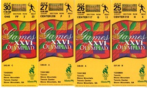 Lot of 4 different 1996 Atlanta Olympics tennis ticket stubs (Andre Agassi)