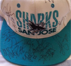1996-97 San Jose Sharks team autographed cap or hat (Jeff Friesen Kelly Hrudey Marty McSorley Bernie Nicholls Ray Whitney)