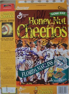 1997 Florida Marlins team autographed World Series Champions cereal box (Bobby Bonilla Kevin Brown Jeff Conine Livan Hernandez Charles Johnson Jim Leyland Gary Sheffield Devon White)