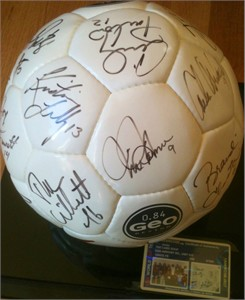 1999 US Women's World Cup Team autographed soccer ball Brandi Chastain Julie Foudy Mia Hamm Kristine Lilly Christie Rampone