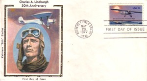 1977 Charles Lindbergh 50th Anniversary First Day Cover