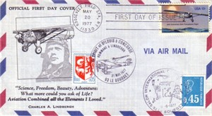 1977 Charles Lindbergh 50th Anniversary First Day Cover TRIPLE CANCELLATION
