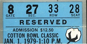 1979 Cotton Bowl college football ticket stub (Joe Montana Notre Dame Chicken Soup Game)