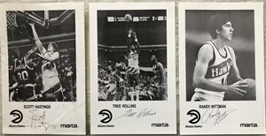 Set of 6 1986-87 Atlanta Hawks autographed photos (Antoine Carr Scott Hastings Cliff Levingston Tree Rollins Kevin Willis Randy Wittman)