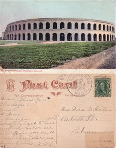 1909 Harvard Football Stadium postcard