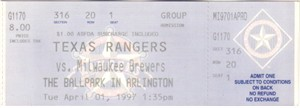 1997 Milwaukee Brewers at Texas Rangers Opening Day full unused ticket MINT
