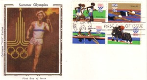 1980 Summer Olympics 1979 First Day Cover (Colorano Silk Cachet)