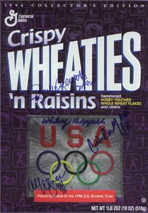 Brooke Bennett Catherine Fox Whitney Hedgepeth Allison Wagner (swimming) autographed 1996 Olympic Wheaties box