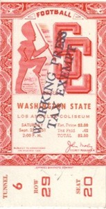1951 USC Trojans vs Washington State Cougars college football ticket stub PRISTINE