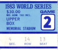 1983 World Series Game 2 ticket stub (Baltimore Orioles win)