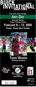 2000 Buick Invitational ticket stub featuring Tiger Woods (Phil Mickelson PGA Tour Win #14)