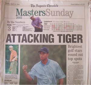 2002 Masters Augusta Chronicle newspaper (Tiger Woods)