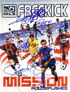 2002 US World Cup Team autographed MLS program Landon Donovan Cobi Jones