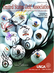 2003 US Open magazine autographed by 9 winners (Jim Furyk Retief Goosen Hubert Green Corey Pavin)