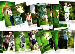21 autographed 2004 SP Signature PGA Tour golf cards Justin Leonard Mark O'Meara Nick Price Craig Stadler David Toms Mike Weir