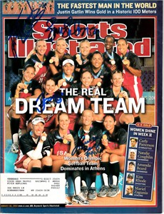 2004 USA Softball Olympic gold medal team autographed Sports Illustrated (Lisa Fernandez Jennie Finch Jessica Mendoza)