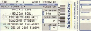 2006 Holiday Bowl game ticket stub (Cal Bears 45 Texas A&M Aggies 10)