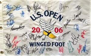 2006 US Open embroidered golf pin flag autographed by 34 (Geoff Ogilvy Phil Mickelson Ernie Els)