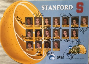 2007-08 Stanford Women's Basketball NCAA Final Four Team autographed poster (Jayne Appel Tara VanDerveer Candice Wiggins)
