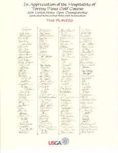2008 U.S. Open golf player signature scroll USGA volunteer gift MINT (Tiger Woods wins 14th major)