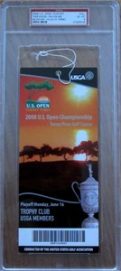 2008 U.S. Open Monday Playoff ticket (Tiger Woods wins 14th major) PSA graded 6 ExMt