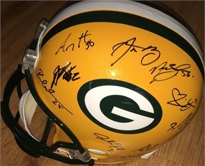 2010 Green Bay Packers Super Bowl 45 Champions team autographed full size helmet Aaron Rodgers Jermichael Finley Ryan Grant A.J. Hawk John Kuhn