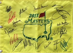2011 Masters golf pin flag autographed by 17 winners (Fred Couples Phil Mickelson Charl Schwartzel Bubba Watson)