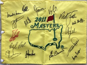 2011 Masters golf pin flag autographed by 15 winners (Billy Casper Fred Couples Ben Crenshaw Nick Faldo Phil Mickelson Charl Schwartzel)