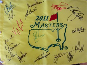 2011 Masters golf pin flag autographed by 17 winners (Fred Couples Ben Crenshaw Nick Faldo Arnold Palmer Charl Schwartzel Bubba Watson)