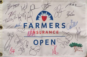 2014 Farmers Insurance Open autographed golf pin flag Tiger Woods Jordan Spieth Jason Day Rickie Fowler Bubba Watson
