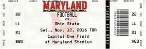 2016 Ohio State Buckeyes at Maryland Terrapins college football full unused ticket MINT