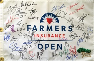 2018 Farmers Insurance Open autographed golf pin flag (Tiger Woods Rickie Fowler Hideki Matsuyama Phil Mickelson)