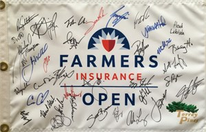 2019 Farmers Insurance Open autographed golf pin flag (Justin Rose Rory McIlroy Jordan Spieth)