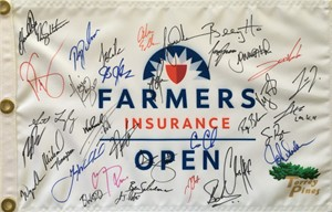2019 Farmers Insurance Open autographed golf pin flag (Tiger Woods Justin Rose Adam Scott)
