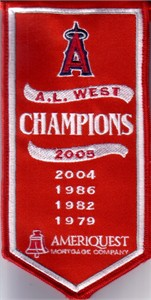 2005 Anaheim Angels A.L. West Champions mini embroidered banner
