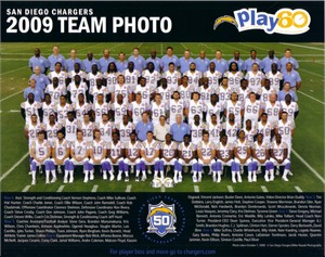 2009 San Diego Chargers 8x10 team photo (Philip Rivers LaDainian Tomlinson)