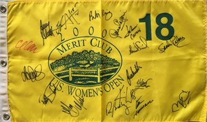 2000 U.S. Women's Open golf pin flag autographed by 19 winners (JoAnne Carner Annika Sorenstam Jan Stephenson Karrie Webb)