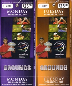 2009 WGC Accenture Match Play Championship practice tickets (Tiger Woods)
