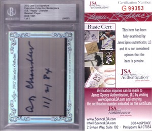 A.B. Happy Chandler certified autograph 2012 Leaf Executive Masterpiece Cut Signature card #1/1