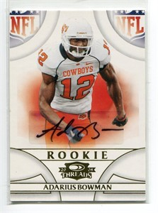 Adarius Bowman Oklahoma State certified autograph 2008 Donruss Threads Rookie Card #903/999