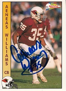 Aeneas Williams autographed Cardinals 1992 Pacific card
