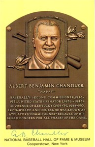 A.B. Happy Chandler autographed Hall of Fame plaque postcard