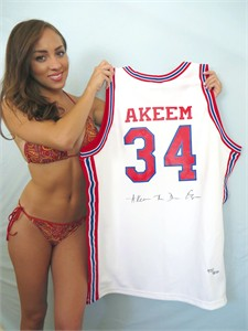 Akeem Olajuwon autographed Houston Cougars authentic throwback jersey #435/1250