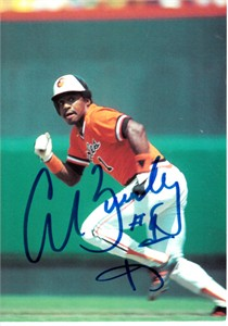 Al Bumbry autographed Baltimore Orioles photo postcard