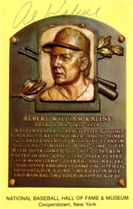 Al Kaline autographed Baseball Hall of Fame plaque postcard