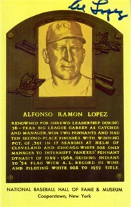 Al Lopez autographed Baseball Hall of Fame plaque postcard